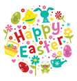 happy easter spring love phrase vector image
