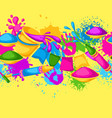 happy holi colorful seamless border vector image vector image