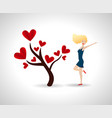 happy young woman with love tree tree with red vector image
