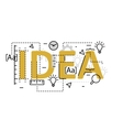 Idea concept flat line design with icons and vector image vector image