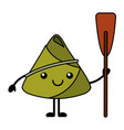 kawaii happy rice dumpling holding wooden oar vector image vector image