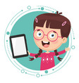 kid using tablet pc vector image