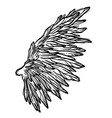 line art of angel wings hand drawn vector image