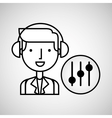 man hand drawing listening music equalizer vector image