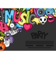 music party kawaii background musical instruments vector image
