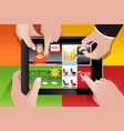 people using tablet pc vector image