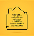 quote about home in house outline on yellow vector image vector image