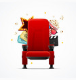 realistic detailed 3d red cinema chair concept vector image
