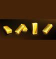 realistic golden bars yellow metal ingots vector image