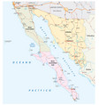 road map mexican states sonora and baja california vector image vector image