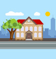 school building city landscape concept vector image