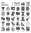 school glyph signed icon set education symbols vector image