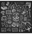 School tools sketch on chalkboard set vector image
