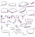 set many hand-drawn arrows isolated vector image