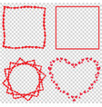 set of cute red love hearts frames for valentines vector image vector image