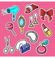 set of fashionable patches hairdryer pomade vector image