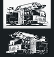 silhouette firefighter truck fire engine drawing vector image vector image