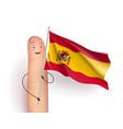 spain flag at finger man vector image vector image