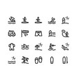 surfing line icons vector image vector image