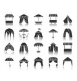 tent black silhouette icons set vector image