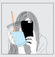 the girl holds a glass of blue drinking water vector image