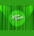 theater stage template with green heavy curtain vector image