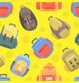 various backpacks or rucksacks seamless pattern vector image