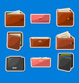 various leather purses and wallets labels set vector image vector image