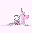 wine bottle and glass contour vector image vector image