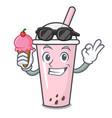 with ice cream raspberry bubble tea character vector image vector image