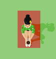 young beautiful asian woman and tea ceremony vector image