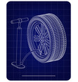 3d model of the wheel and pump on a blue vector image vector image