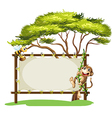A monkey and the bee beside the empty signage vector image vector image