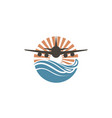 airplane sun and sea icon vector image