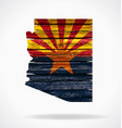 arizona map flag on old timber vector image vector image