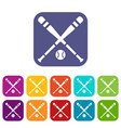 baseball bat and ball icons set vector image vector image