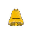 bell front view color crayon silhouette on white vector image vector image