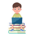 boy sits on the book and works engaged in a laptop vector image