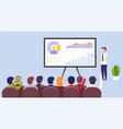 business man teacher holds a lecture vector image