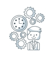 business person with set line icons vector image vector image