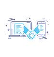 businessmen shaking hands contract online vector image