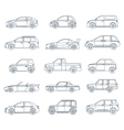 car icons in linear style vector image