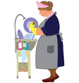 Cartoon woman in yellow gloves doing dishes vector image vector image