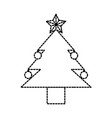 christmas tree pine ball star decoration vector image vector image