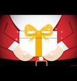 closeup santa claus give gift to you art vector image