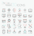 collection of 30 modern icons in thin line style vector image