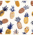 cool seamless pattern with textured pineapples on vector image