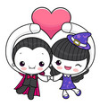 couple dracula and witch character is holding a vector image vector image