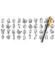 crystals doodle set vector image