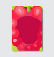 cut raspberry template card slice fresh fruit vector image vector image